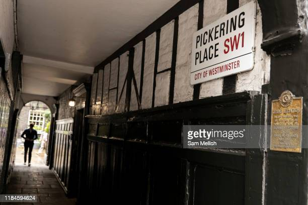 A man walking along Pickering Place onto St Jamess Street the 26th September 2019 in London in the United Kingdom