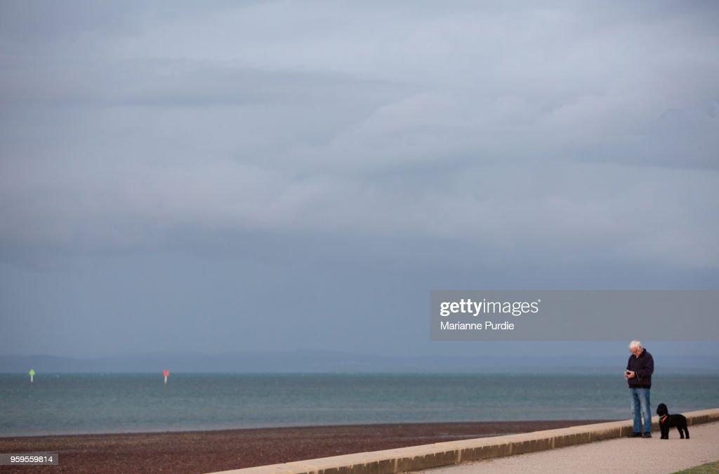 Man walking dog on pathway near seaside : Stock-Foto