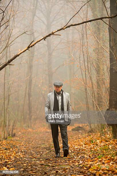 man walking in a foggy forest - フラットキャップ ストックフォトと画像
