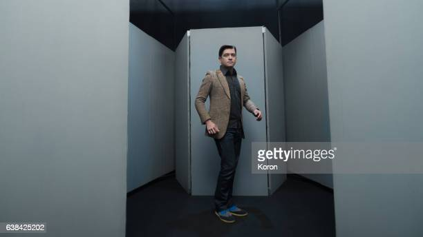 Man walking in a labyrinth room