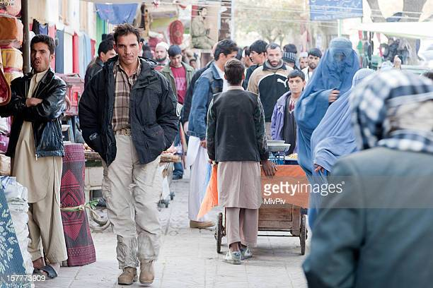 Man walking in downtown Kabul