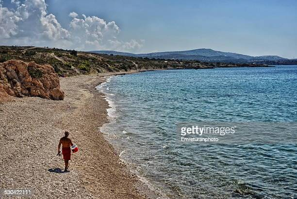 man walking in the beach, ovacik - emreturanphoto fotografías e imágenes de stock