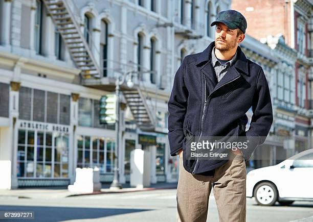 Man walking in town