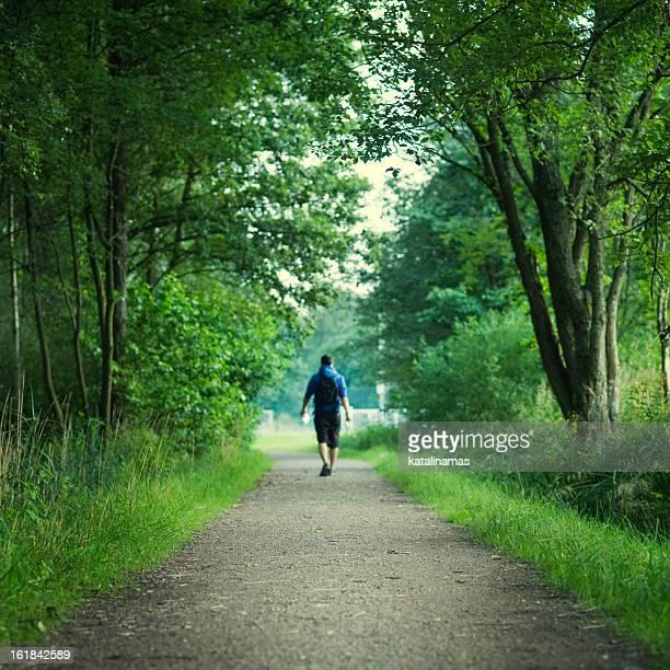 uomo che cammina su una strada del deserto - cammino di santiago di compostella foto e immagini stock