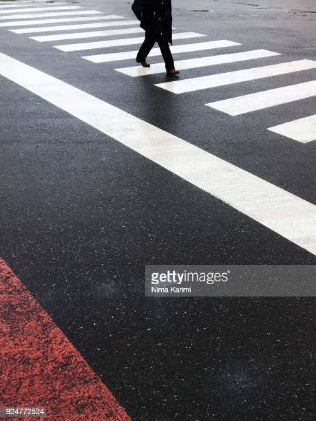 a man walking on a zebra crossing - pedestrian stock pictures, royalty-free photos & images