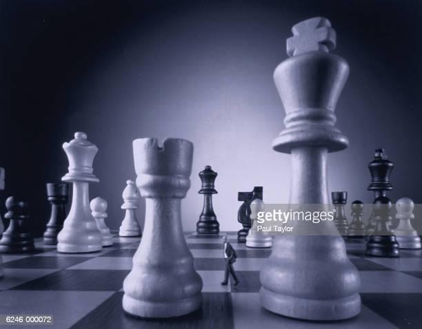 Man Walking on Chess Board