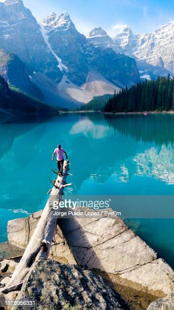 man walking on fallen tree over lake against mountains - fallen tree stock pictures, royalty-free photos & images