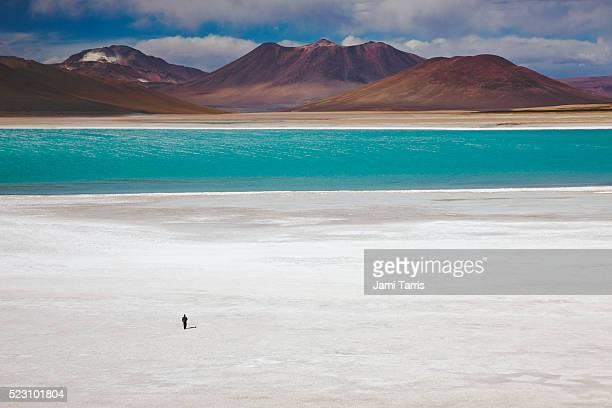 A man walking on salt pan to green water of Laguna Verde