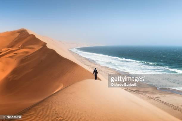 man walking on sand dunes above the ocean, namibia - namibia fotografías e imágenes de stock