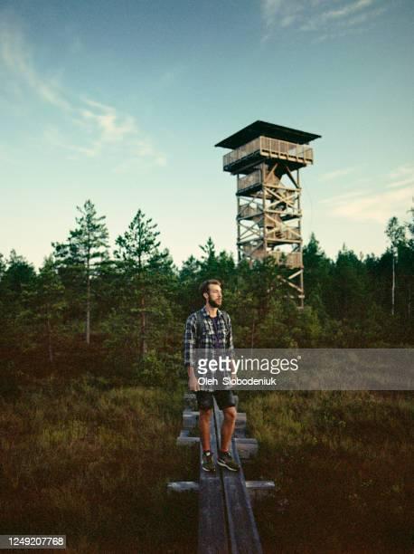 man walking on swamp in estonia - marsh stock pictures, royalty-free photos & images