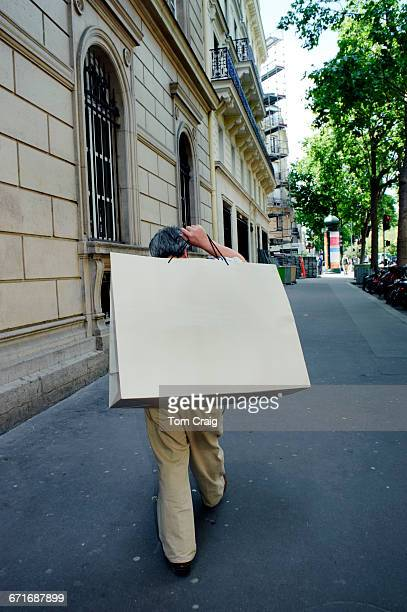 Man Walking Street Shopping Bag, Paris