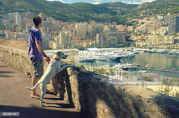 Man walking the dog in Monaco