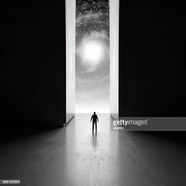 Man walking through interdimensional passage