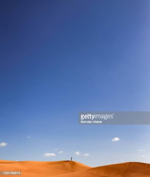 man walking through the desert in dubai - paisajes de emiratos arabes fotografías e imágenes de stock