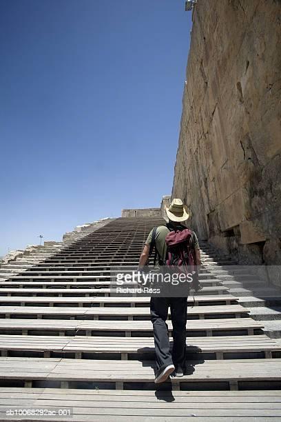 Man walking up stairs, rear view