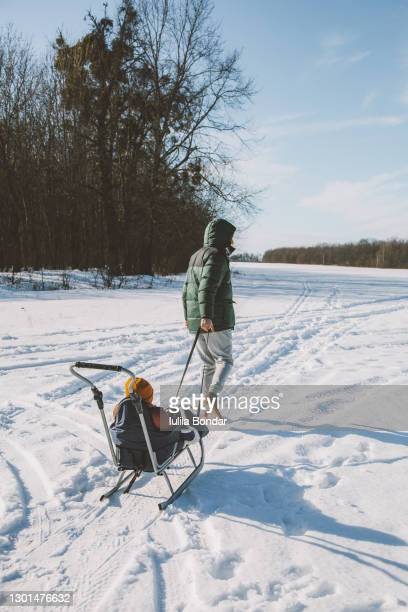 man walking with son in the sledge. - ukraine landscape stock pictures, royalty-free photos & images