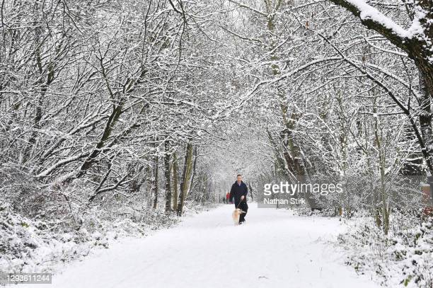 Man walks a dog while at Silverdale Country Park on December 29, 2020 in Newcastle-Under-Lyme, England. Heavy snow fall has covered the West Midlands...