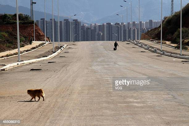A man walks along a street on November 20 2013 in Chenggong Yunnan Province of China Chenggong is a satellite city located just south of Kunming As...