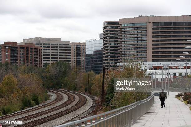 A man walks along Long Bridge Park in the Crystal City area on November 13 2018 In Arlington Virginia Amazon announced today that it has chosen...