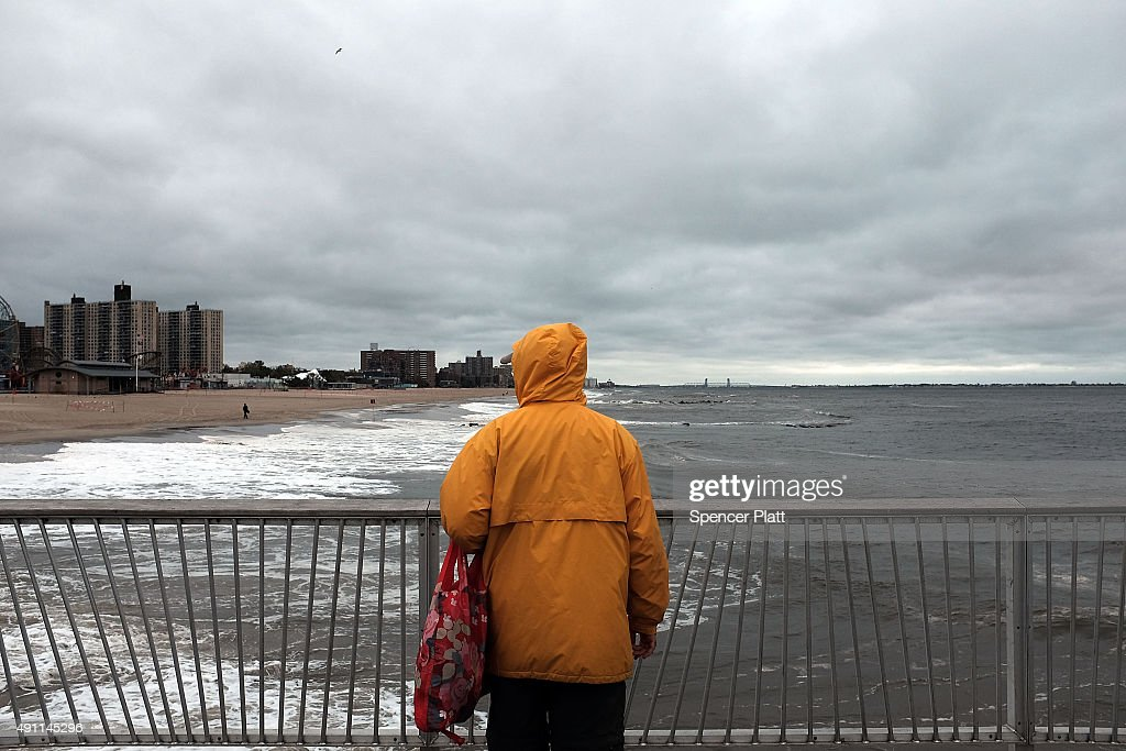 Storm System Churns Up Waters Along New York's Coney Island : News Photo