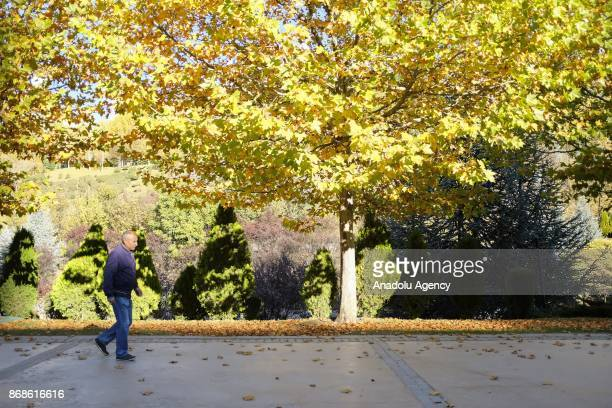 A man walks at the 'Dikmen Valley Park' on an autumn afternoon in Ankara Turkey on October 31 2017 Ankara has a pretty mild climate and it...
