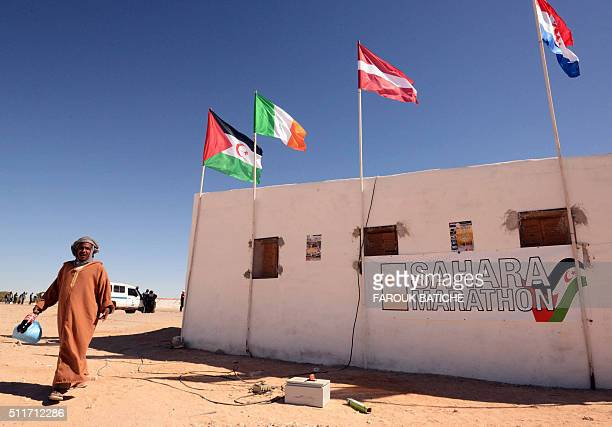 A man walks at the Smara refugee camp in Algeria's Tindouf province home to some several thousands Sahawari refugees ahead of the 16th edition of the...