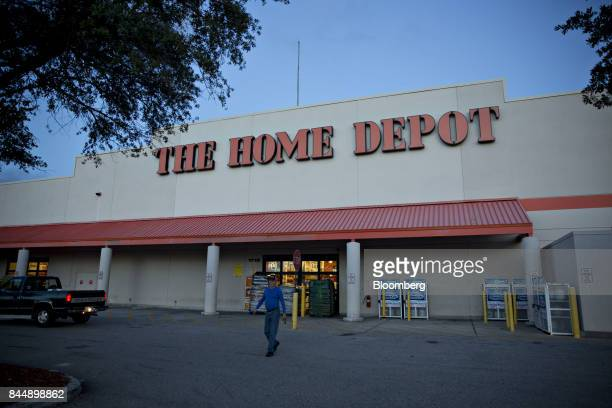 A man walks away from a Home Depot Inc store after finding it closed ahead of Hurricane Irma in Tampa Florida US on Saturday Sept 9 2017...