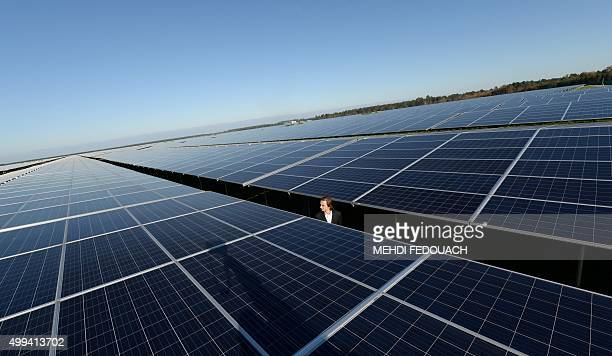A man walks between Photovoltaic panels at the newly opened Solar Energy centre in Cestas on December 1 2015 After 10 months of construction the...