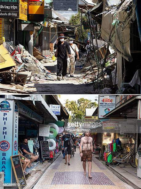 In this composite image a comparison has been made between a scene in 2004 and 2014 People walks through the streets of Tsunamidamaged Phi Phi...