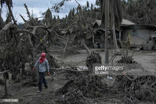 TOPSHOT A man walks between trees and buildings covered in ash from the eruption of the Taal volcano in the village of Buso Buso near Laurel on...