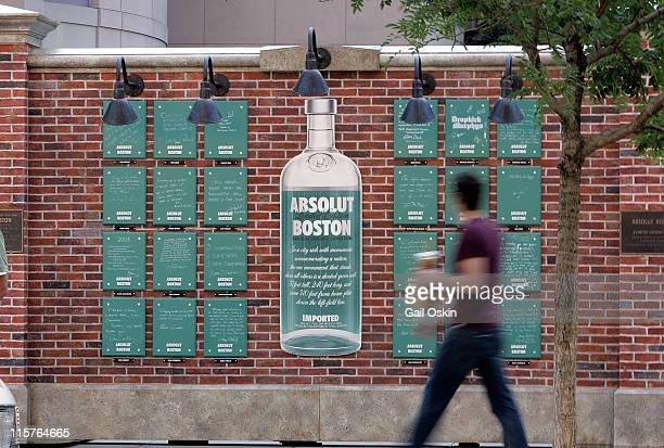 A man walks by the unveiling for the ABSOLUT Boston Flavor at Boylston Plaza Prudential Center on August 26 2009 in Boston Massachusetts