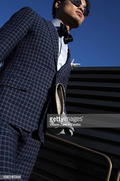 Man walks during the 95th Pitti Uomo at Fortezza Da Basso on January 08, 2019 in Florence, Italy.