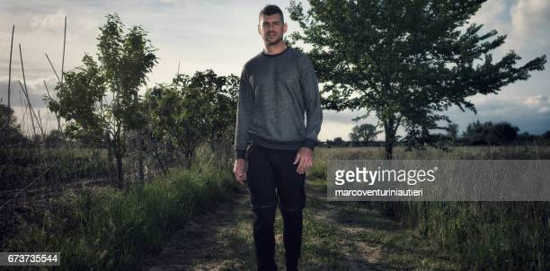 Man walks for fitness in the countryside