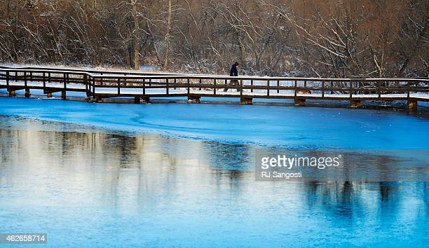 A man walks his dog in Belmar Park in Lakewood that is blanketed in new snow February 02 2015 Warmer weather is in the forecast for the next few days