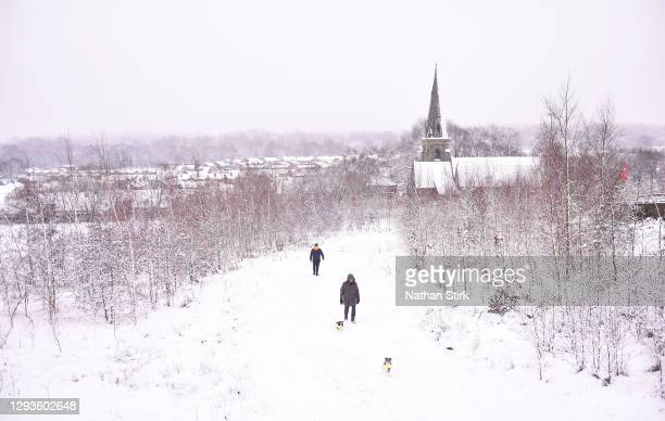 Man walks his dogs around Silverdale Country Park on December 29, 2020 in Newcastle-Under-Lyme, England. Heavy snow fall has covered the West...