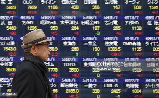 A man walks in front of an electric quotation board flashing the Nikkei key index of the Tokyo Stock Exchange in Tokyo on March 10 2016 Tokyo stocks...
