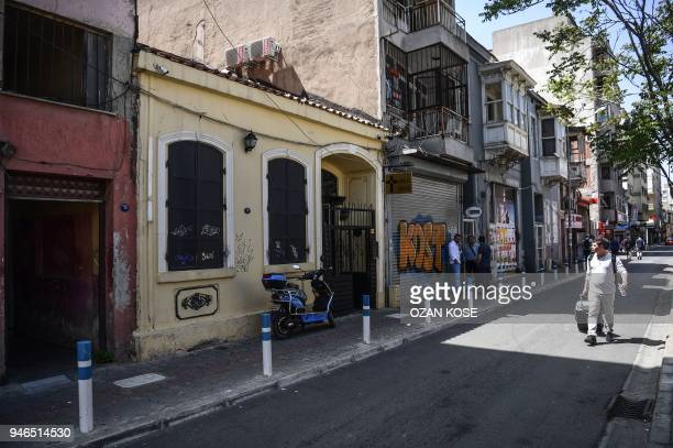 A man walks in front of 'Dirilis Church' in which US pastor Andrew Brunson had his congregation in Izmir Turkey on April 15 2018 Andrew Brunson an...