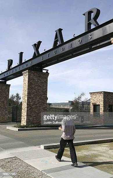 A man walks in front of the main gate at Pixar Animation Studios January 19 2006 in Emeryville California The Walt Disney Co is reportedly in talks...