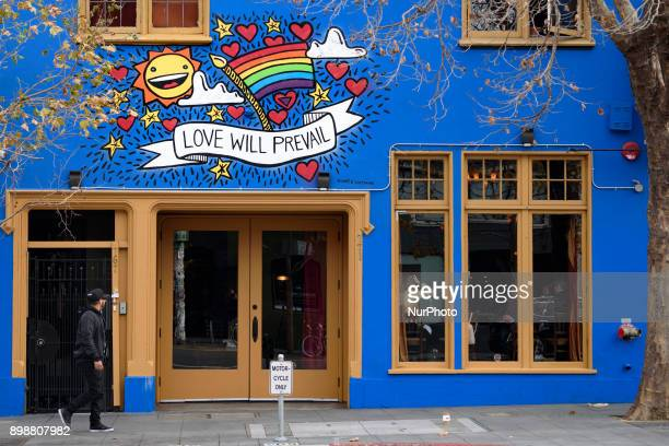 A man walks in the Mission District of San Francisco California on December 24 2017 San Francisco is a major travel destination with over 24 million...