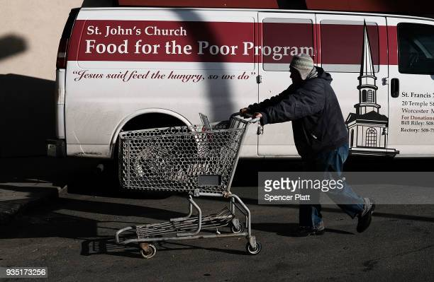 A man walks into a soup kitchen and food pantry in an economically stressed section of the city on March 20 2018 in Worcester Massachusetts Worcester...