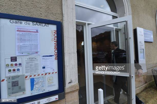 A man walks into the train station in Sarlat on February 20 as the line which serves the station is under the cloud of possible closure as part of...