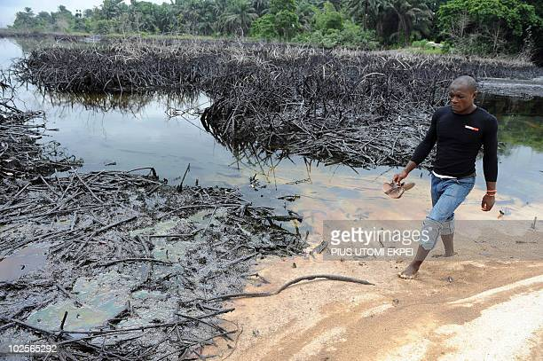 A man walks near the spilled crude oil on the shores and in the waters of the Niger Delta swamps of Bodo a village in the famous Nigerian...