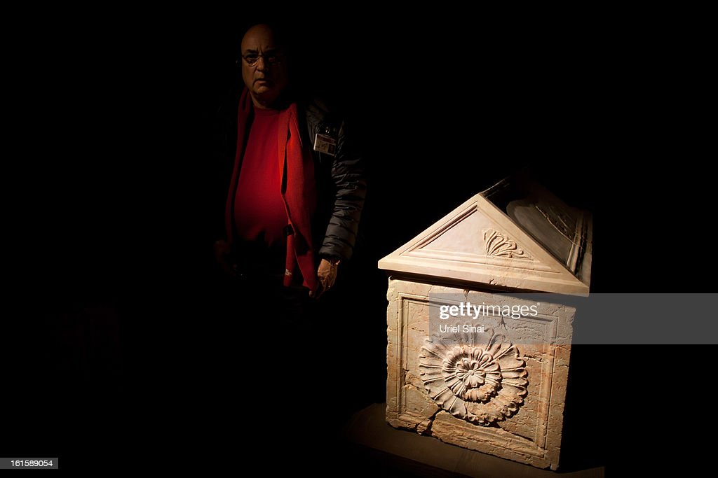 A man walks next to Herod's sarcophagus as he visits the 'Herod the Great' exhibition as it opens at the Israel museum on February 12, 2013 in Jerusalem, Israel. The exhibition is devoted to the architectural legacy of King Herod, the Jewish proxy monarch who ruled Jerusalem and the Holy Land under Roman occupation two millennia ago.