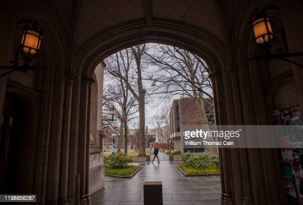 Man walks on campus at Princeton University on February 4, 2020 in Princeton, New Jersey. The university said over 100 students, faculty, and staff...