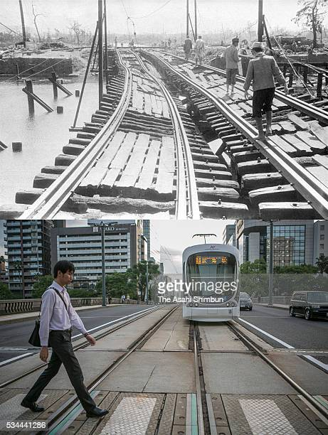 This digital composite shows the Inaribashi Bridge right after the atomic bombing in August 1945 and on May 26 2016 in Hiroshima Japan #534426364...