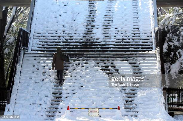 A man walks on the snow covered step at Yoyogi Park on January 23 2018 in Tokyo Japan The snowstorm affected traffic and public transport in the...