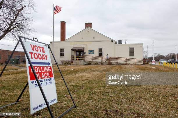 Man walks out of a polling place at the Fitzgerald Recreation Center on March 10, 2020 in Warren, Michigan. Michigan is one of six states voting in...