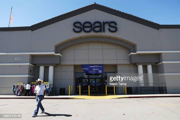Man walks out of a Sears store on October 15, 2018 in Montebello, California. The iconic American retailer has filed for Chapter 11 protection from...