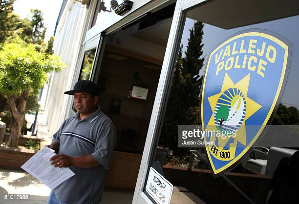A man walks out of the Vallejo Police department May 7 2008 in Vallejo California The Vallejo California City Council voted overwhelmingly on Tuesday...