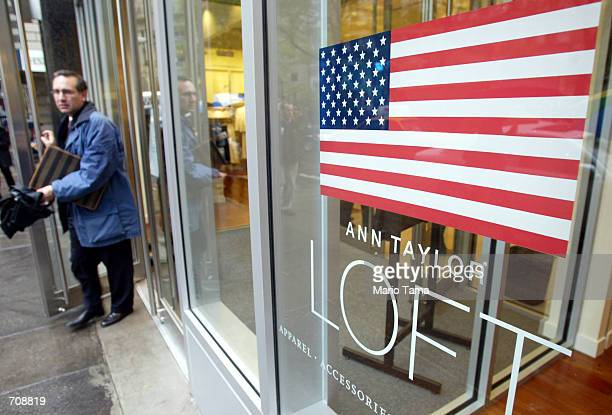 A man walks outs of the new Ann Taylor Loft store located near Ground Zero April 22 2002 in New York City Ann Taylor is the first brand name retail...